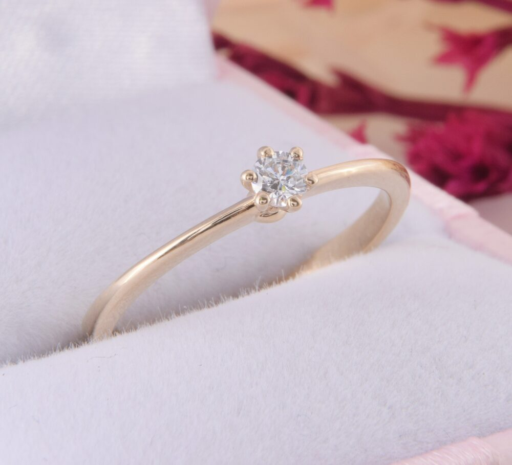 Simple & Delicate 14K Yellow Gold Promise Ring For Her, Dainty Womens Ring, Small Petite Elegant