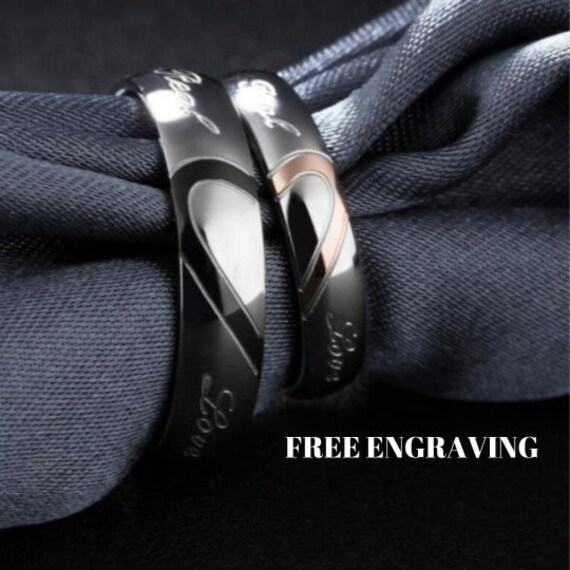 Stainless Steel Couples Promise Rings Set, His & Hers Rings, Promise Wedding Anniversary Ring, Valentines Gift 6mm/4mm