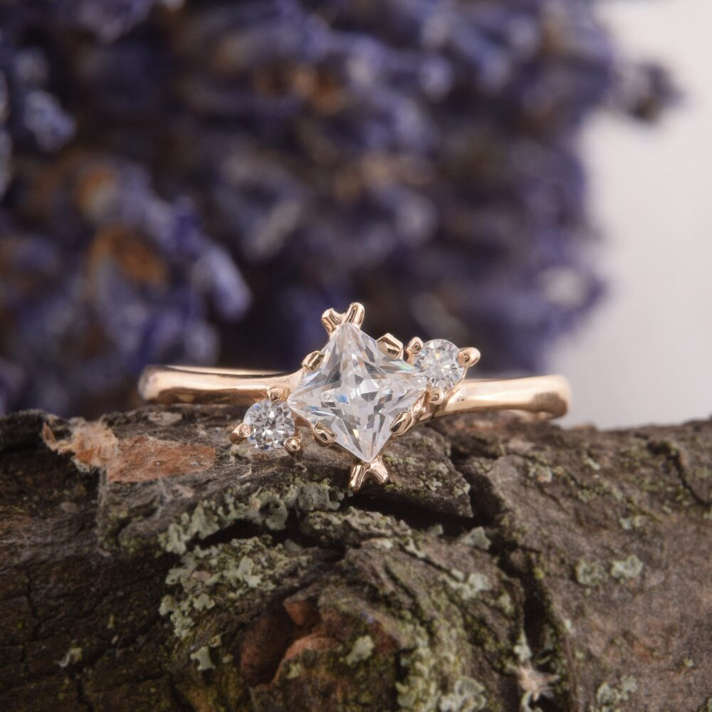 Dainty White Topaz Promise Ring For Her, Womens Small Yellow Gold Ring, Minimalist Geometric Unique