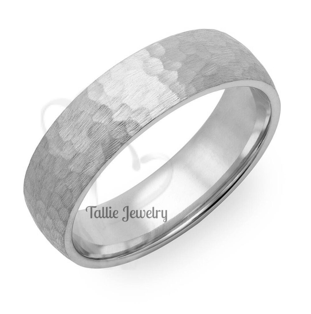 Hammered Finish Mens Wedding Bands, 6mm, 10K, 14K, 18K Solid White Gold Rings , Matching Bands, His & Hers