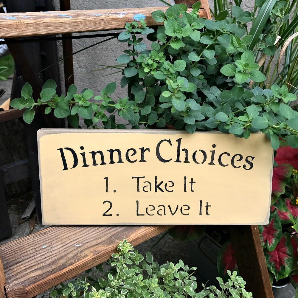 Wooden Kitchen Sign, Dinner Choices, Funny Wood Gift For Mom, Decor, Cafe Rustic Mother's Day