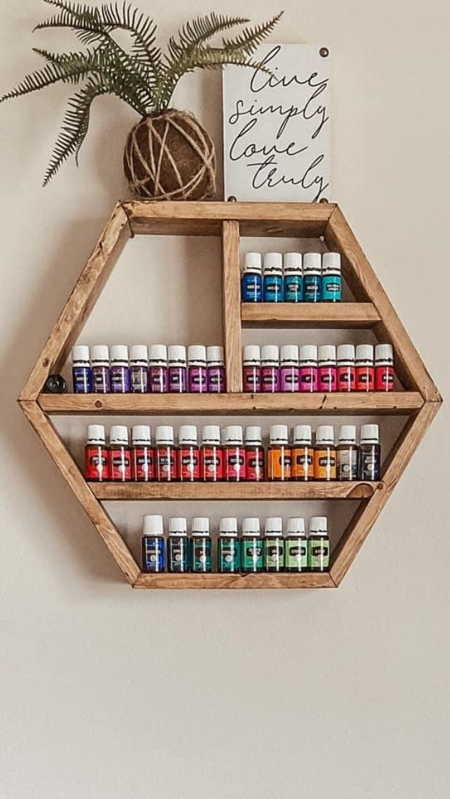 Crystal Display, Rustic Shelf, Crystal Geometrical Oil Storage, Rustic Mother's Day Gift, Holder