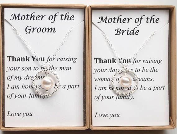 Set Of 2 Mother The Bride-Mother Groom-Wedding Necklace-Eternity Necklace-Mother Wedding Gift-Wedding Jewelry-Wedding Gift For Mom