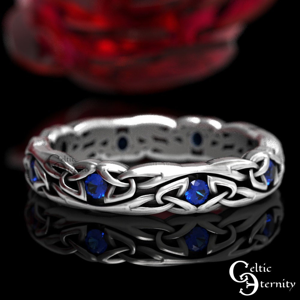 Narrow Sapphire Wedding Ring, Sterling Silver Celtic Band, Knotwork Delicate 1467