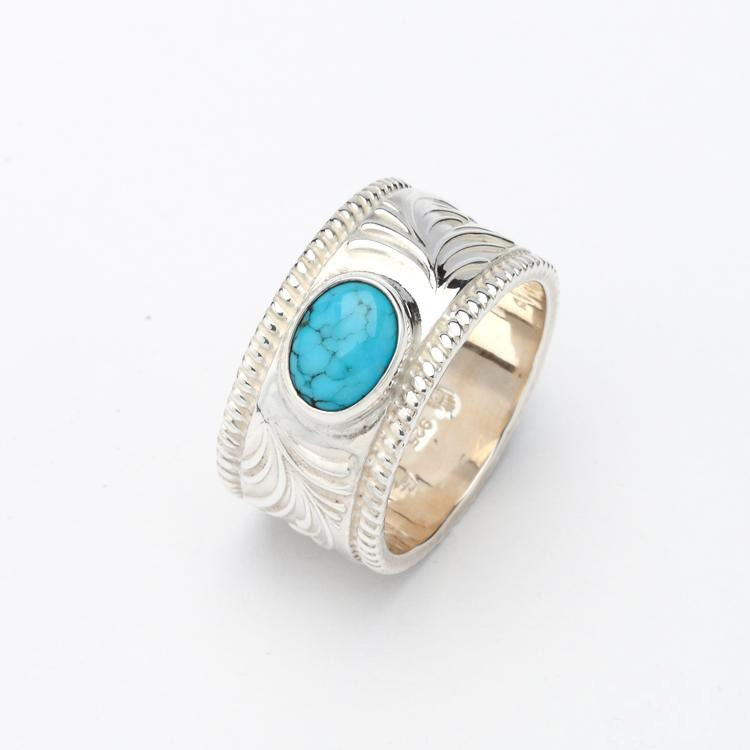 Engraved Silver Band | Turquoise Ring Oxidized Floral Pattern Arabesque Personalized |Gift For Him