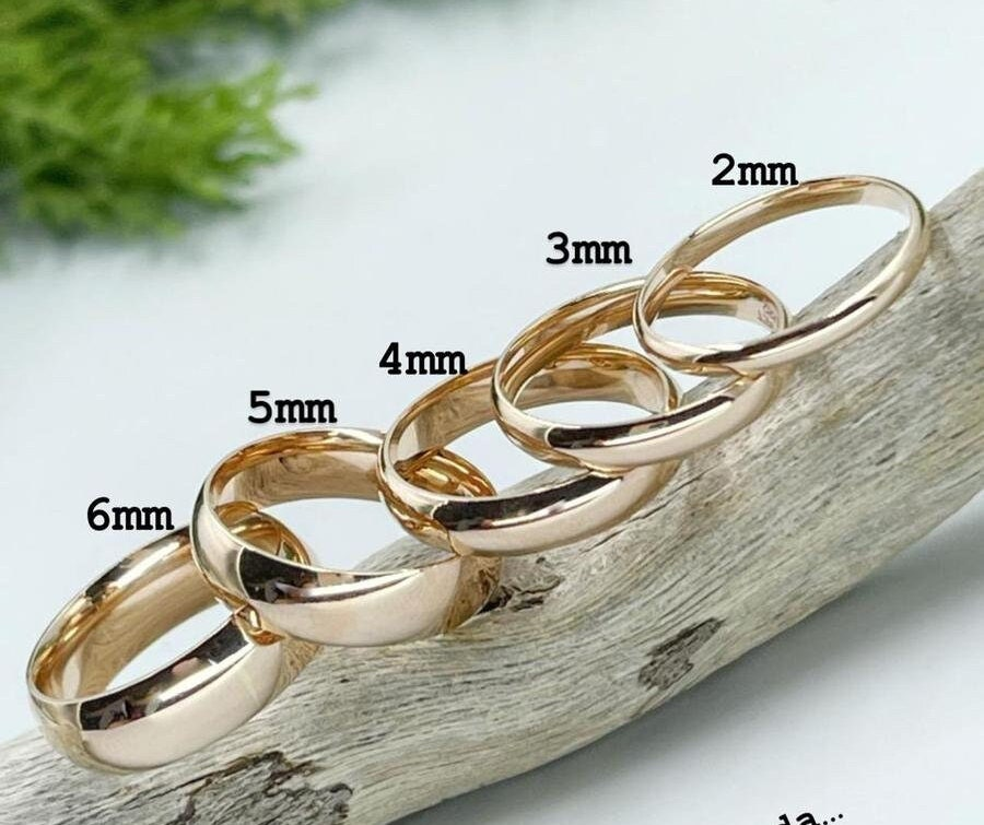 Classic Dome Wedding Band Gold/2mm 3mm 4mm 5mm 6mm Gold/Simple Band/Polished Men's & Women's Ring Solid Gold