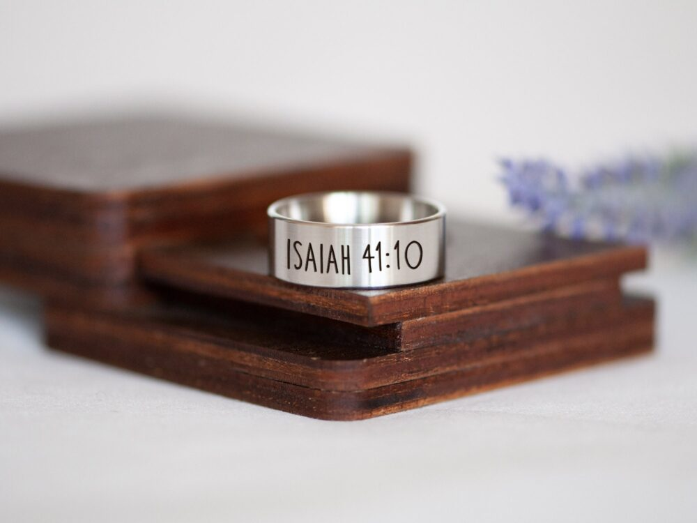 Bible Verse Ring, Scripture Christian Gift, Jewelry, Faith Stainless Steel Personalized Religious Gift
