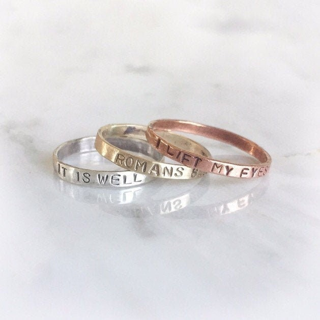 Personalized Bible Verse Ring, Inspirational Jewelry, Message Christian Custom Word Name Religious Ring