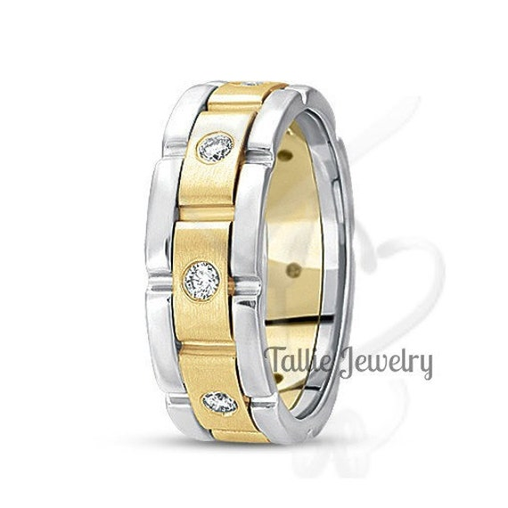 Mens Two Tone Gold Wedding Bands, 7mm 10K 14K 18K Solid White & Yellow Rings, Diamond Bands