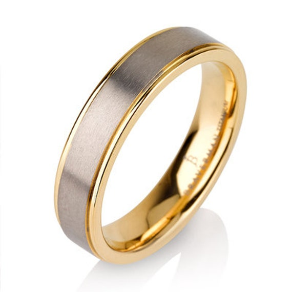 Mens Titanium Wedding Band Ring 5mm 8-12 Sizes 14K Yellow Plated Two Toned Comfort Fit Brushed Satin Custom Engraved