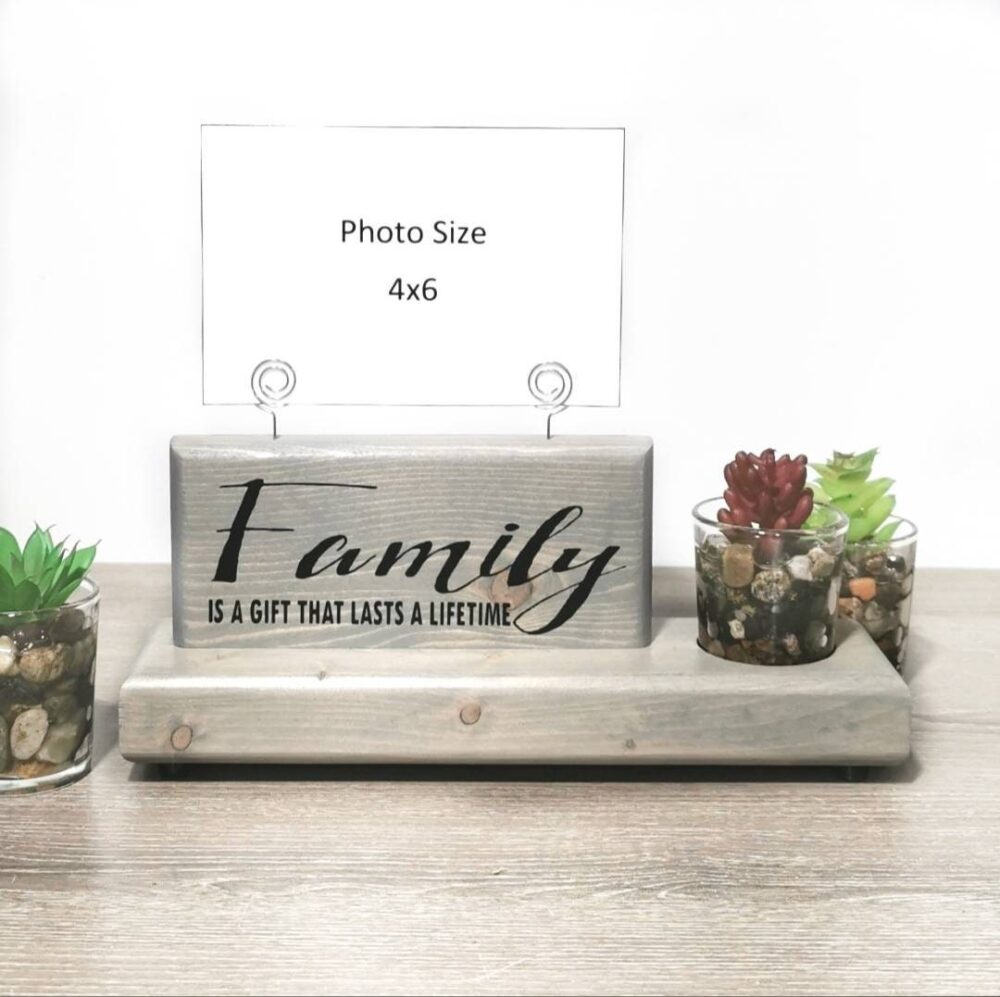 Family Photo Display Sign With Faux Succulent Planter Or Glass Bud Vase, Wire Picture Holder, Gift For Her, Wedding Gift, Mom
