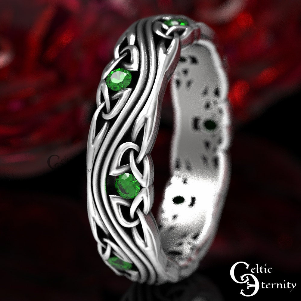 Emerald Silver Celtic Wedding Band, Ring, Sterling Eternity 1462