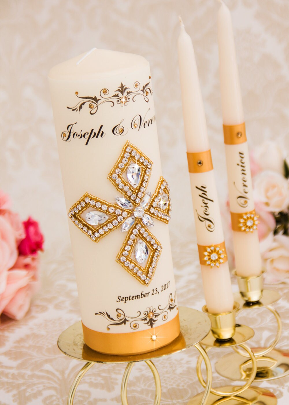 Gold Wedding Unity Candle Set Personalized Candles Church Ceremony