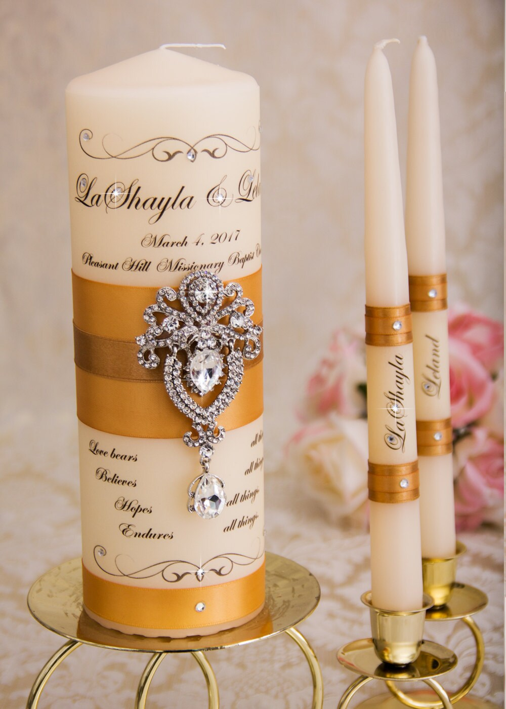 Golden Wedding Unity Candle Set, Candles Personalized Candles, Gold Custom
