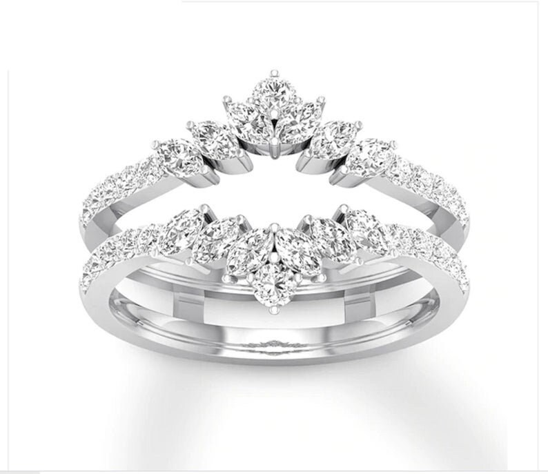 Solitaire Enhancer Marquise 1.00 Ct Simulated Diamond Ring Engagement Wedding Band Silver Guard