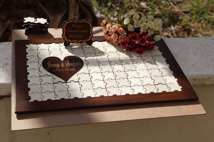 Wedding Decor Signs, Personalized Guest Book Alternative Wood Puzzle, Rustic Book, Wooden Sign