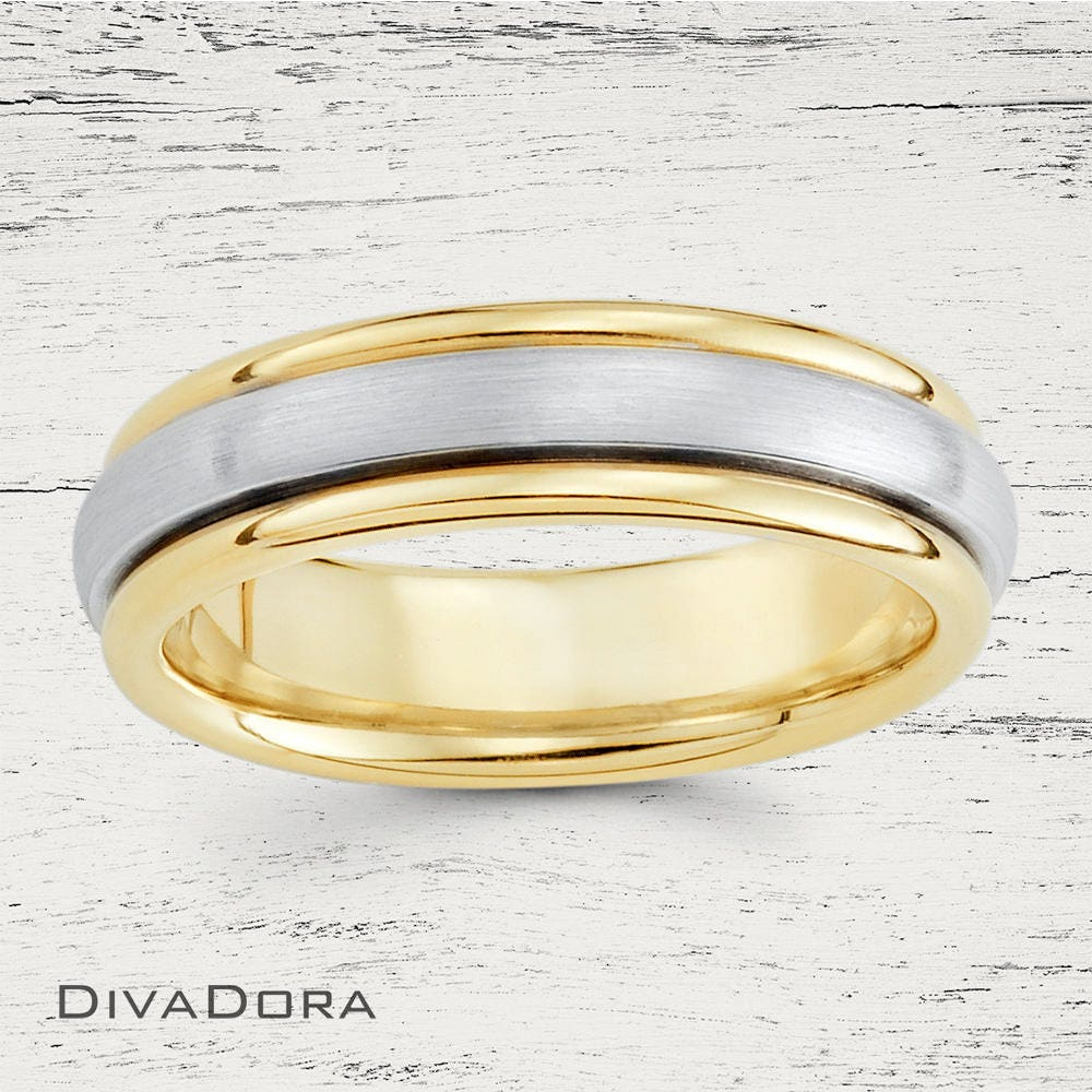Two Tone Wedding Band, Dome Classic Comfort Fit 14K Gold Personalized Dc190-1