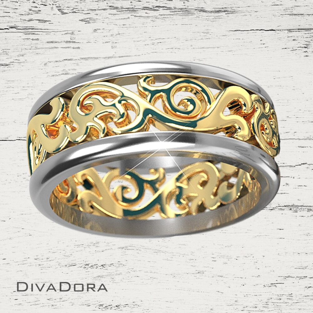 7.5 Mm Two-Tone Wedding Band in 14K Or 18K White & Yellow Gold Da4
