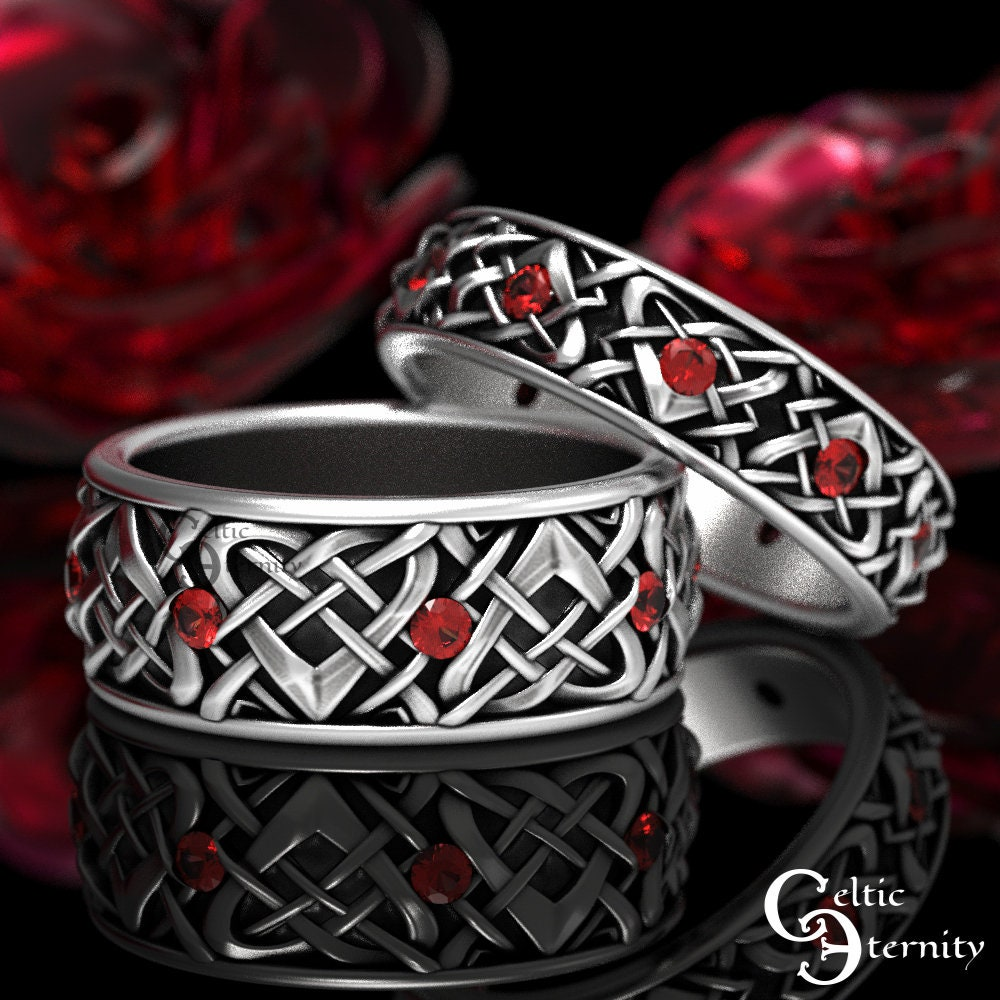 His & Hers Celtic Wedding Rings, Sterling Silver Band Set, Matching Bands With Rubies, 1457 + 1459