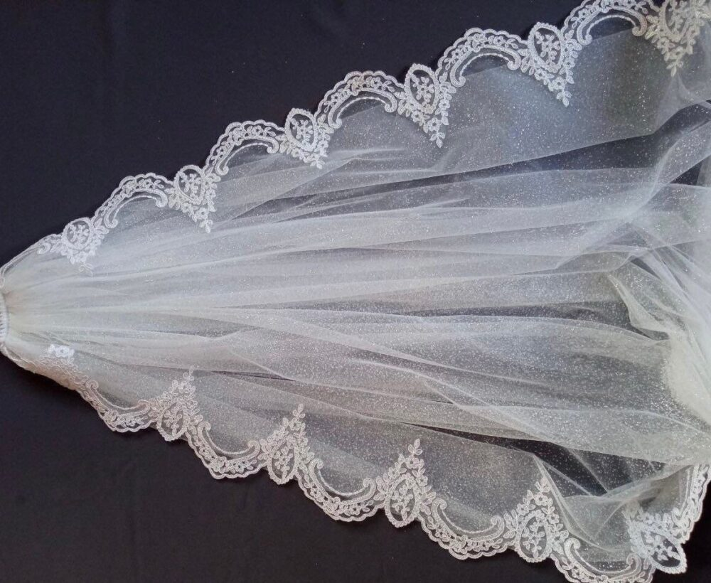 Glitter Wedding Veil Lace Glitter Bridal Sparkle Tulle With One Tier Cathedral Long 1 T Ier