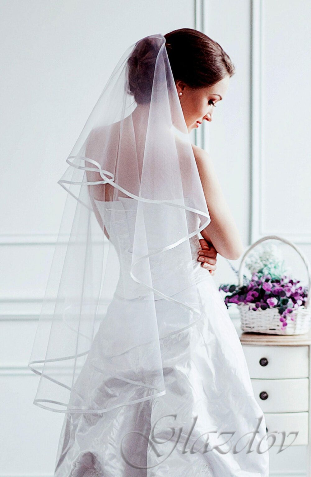 Double Tier With Satin Ribbon Wedding Veil, Bridal Veil Two Classical Edge