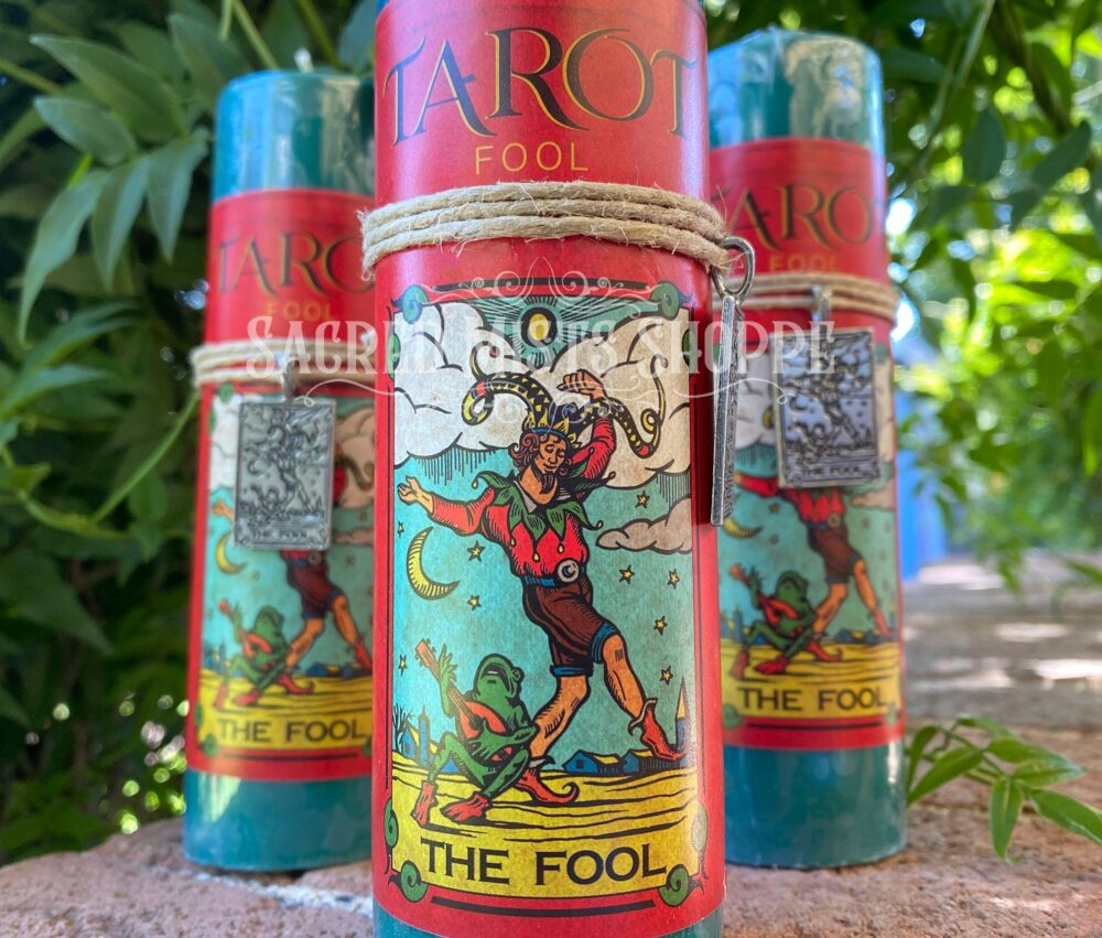 The Fool Tarot Pillar Candle With Pewter Pendant For Innocence, Trust, New Beginnings, Ritual, Spell Casting, Altar, Magick, Wicca