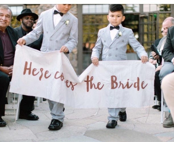 Here Comes The Bride Wedding Banner, Rustic Decoration Sign, Flower Girl Ring Bearer Sign