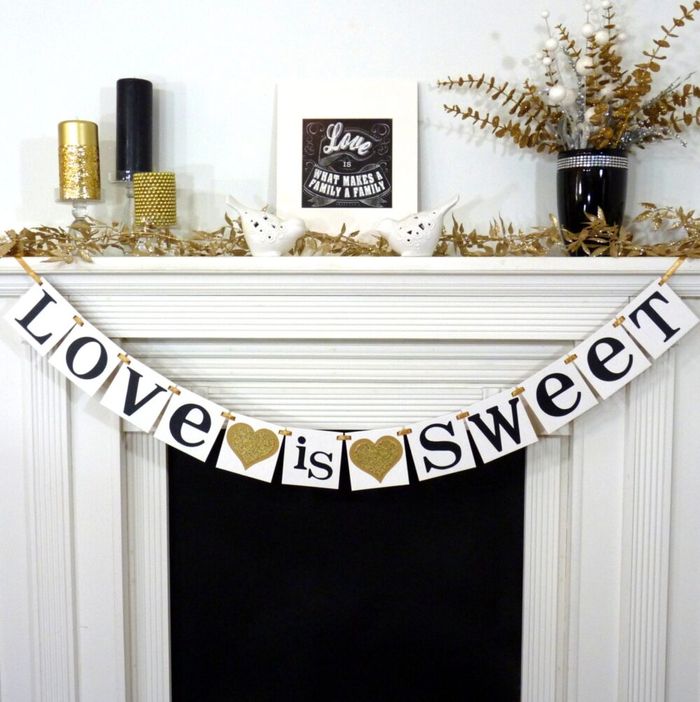 Love Is Sweet Sign/Wedding Banner Table Photo Prop Sign Decoration Rustic Shower