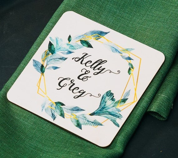 Photo Custom Wedding Favor, Thank You Favor , Names Personalized Coasters, Floral Coaster, Wood Wedding Favors, Custom Gift