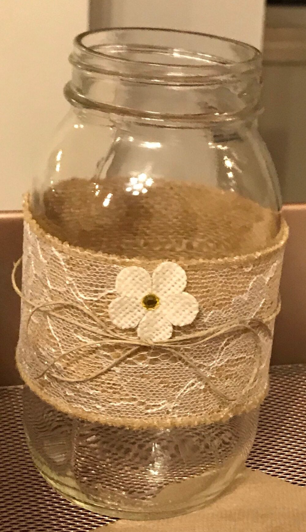 Centerpieces, Set Of 6 Rustic, Vintage Mason Jars Decorated With A Charming, Rustic Burlap & Lace Ribbon, Twine String Fabric Flower