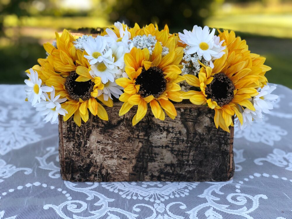 Rustic Planter Box - Birch Vase Bark Container Wedding Centerpieces Wood For