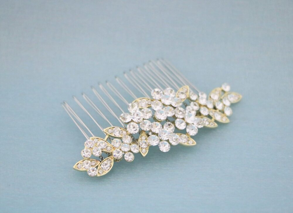 Gold Veil Comb Rhinestone Wedding Hair Accessories Rose Gold Bridal Vintage Style in Side