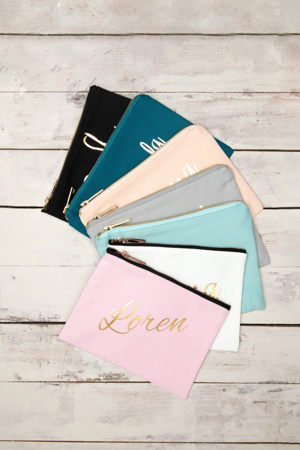Customized Makeup Bag, Bridesmaid Personalized Grab Gift Pouch, Cosmetic Zipper Pouch