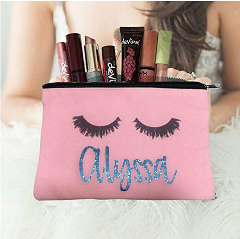 Makeup Cosmetic Bag Personalized | Wedding Gift Maid Of Honor Bridesmaid Friend Proposal Flower Girl Gift