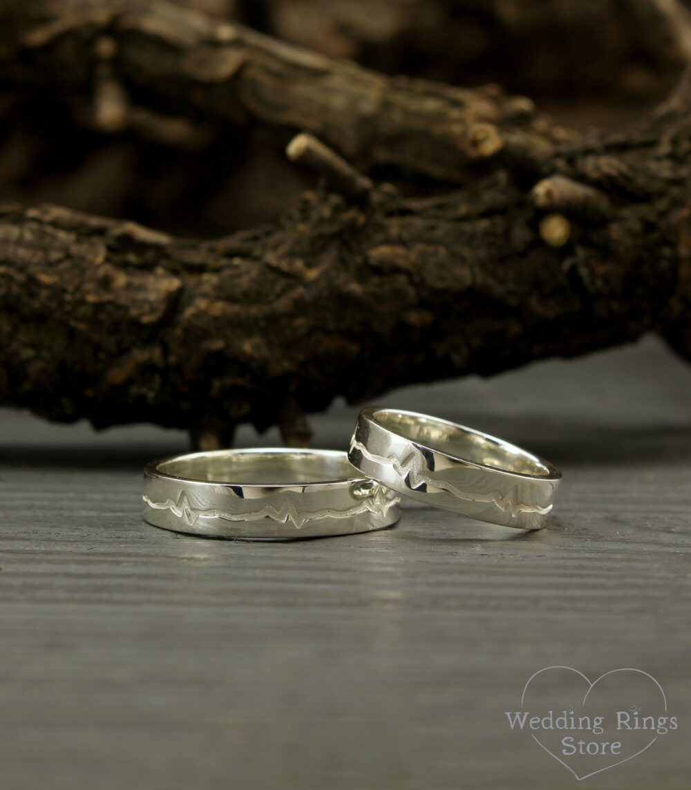 Heartbeat Engagement Rings, Silver Wedding Bands, Matching Promise Silver His & Her Ring Set, Unique Bands