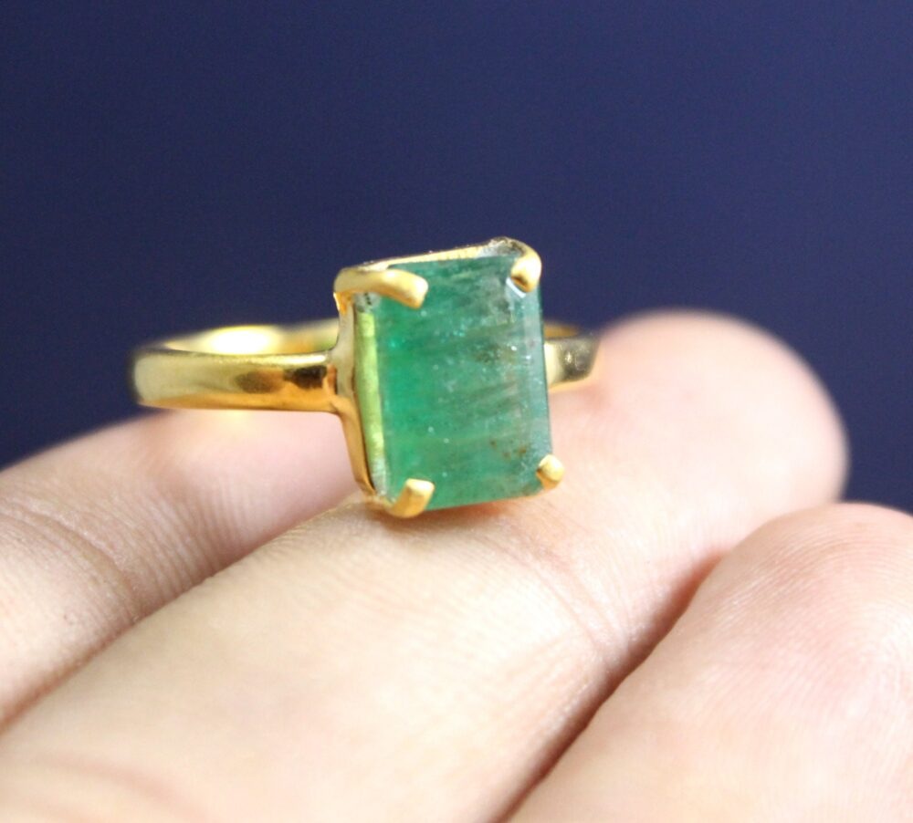 24K Gold Plated Ring, Solid 925 Silver Natural Emerald Prong Setting Engagement Birthstone Wedding Band Ring