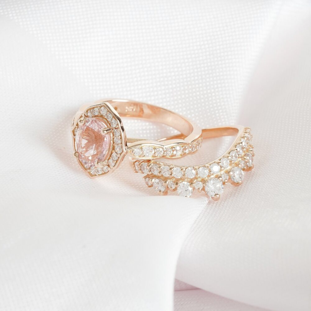 Pink Sapphire Diamond Ring Set Round Peach Engagement Ring Rose Gold Curve Matching Band With Branch Sapphire Wedding