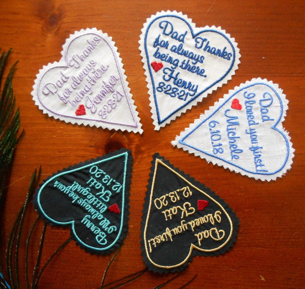 Wedding Tie Patch Groom, Personalized Heart Patch, Husband Suit Patch, Custom Embroidered With My Whole Heart, Iron-On Option