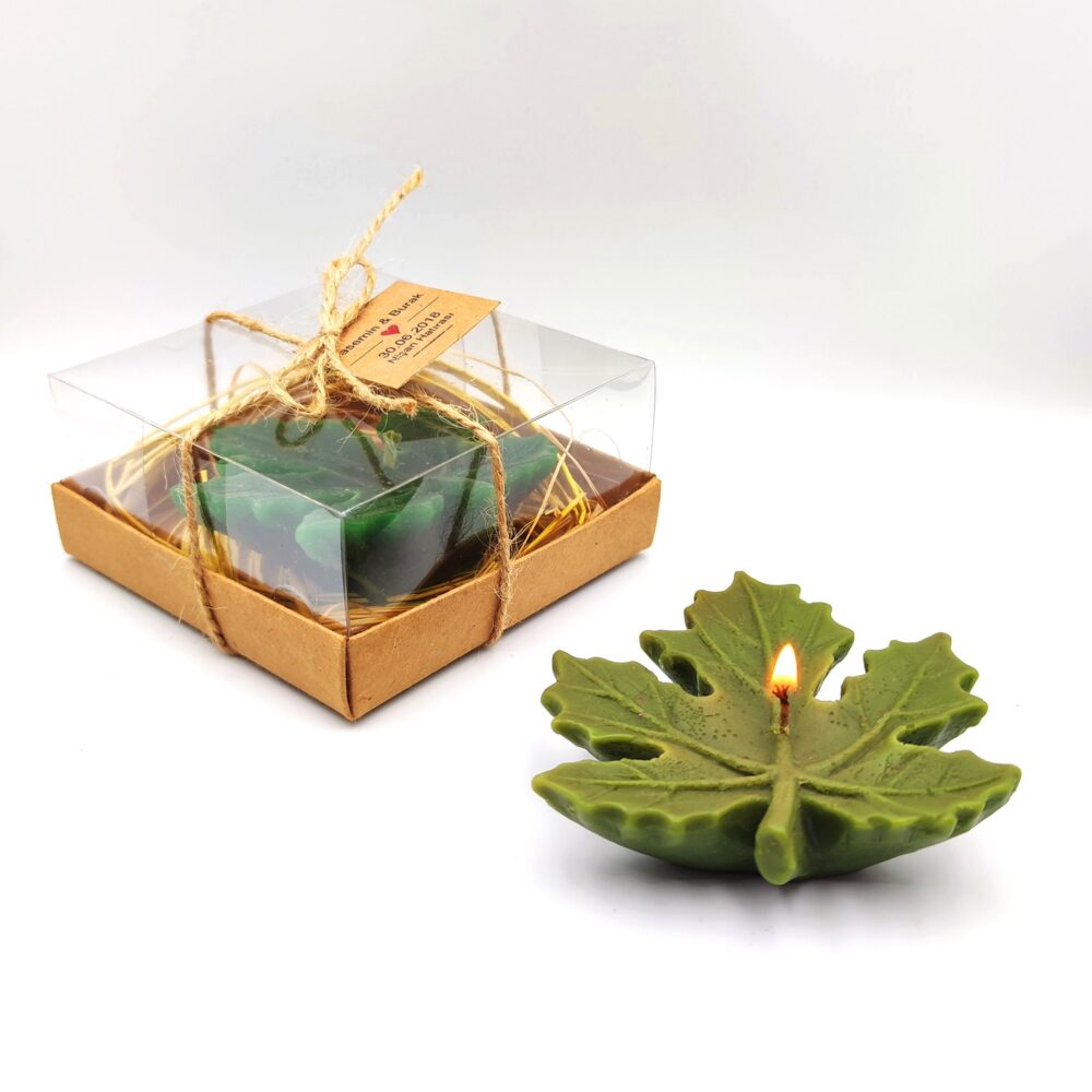 Bulk Favors, Wedding Favors Candles, Candle Gifts Bulk, Personalized Gift, Sycamore Leaf Green Candles in Gift Set
