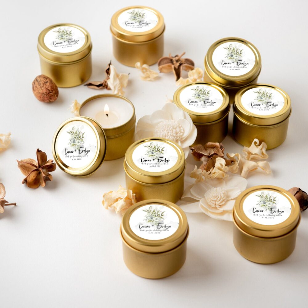 Wedding Favors, Candle For Guests Bulk, Mini Candle, Gold Tin Candles, Personalized Gift, Rustic Favor