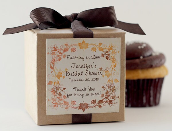 Wedding Favors   Bridal Shower Favor Engagement Party Falling in Love Fall Autumn Leaves Cupcake Mix