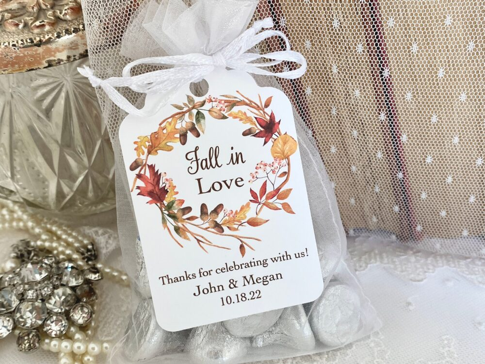 Autumn Wedding Favor Bags, Fall Guest in Love Favors, Thanksgiving Printed