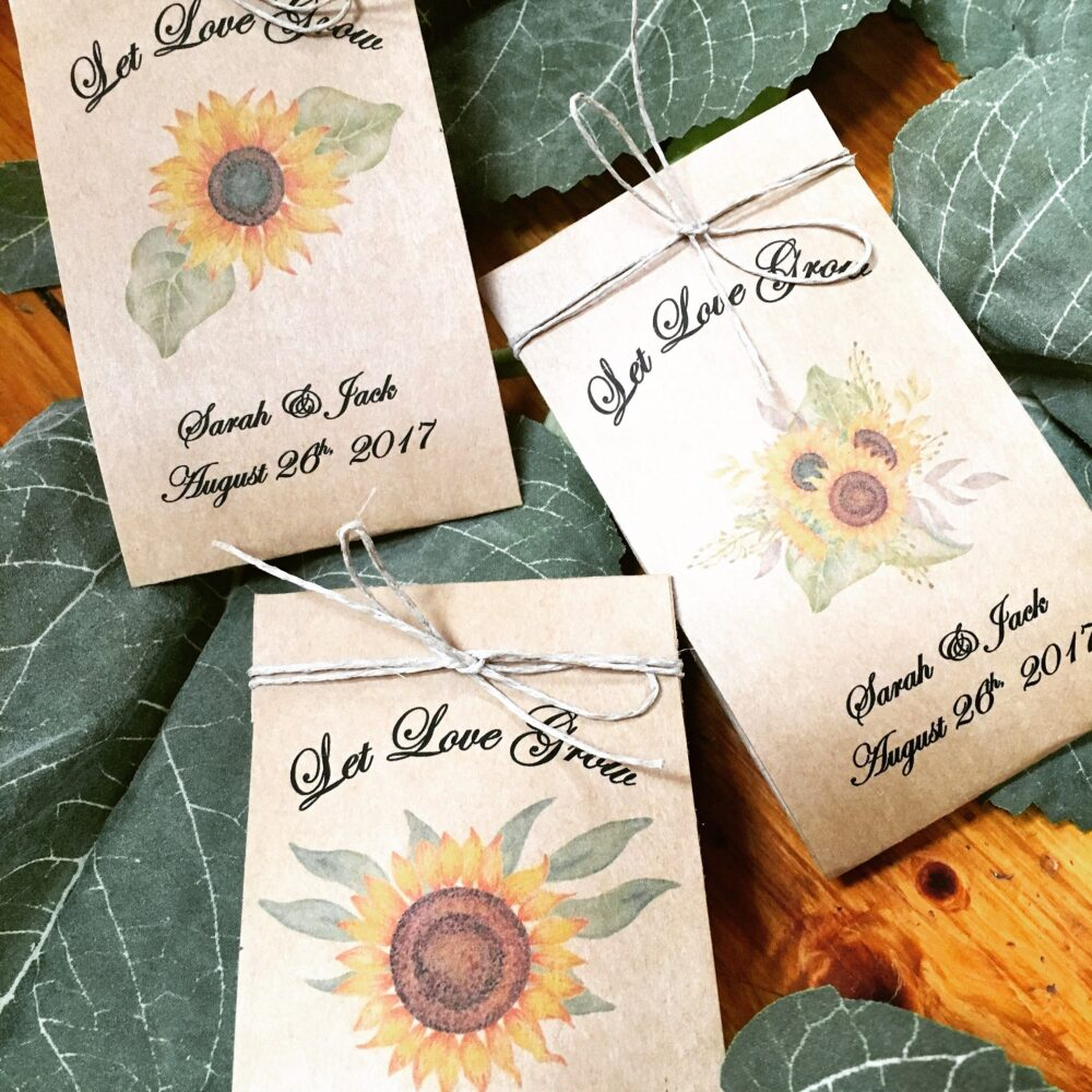 Fall Wedding Favors - Sunflower Seed 100 Favor Spread The Love Grows Flower Seeds