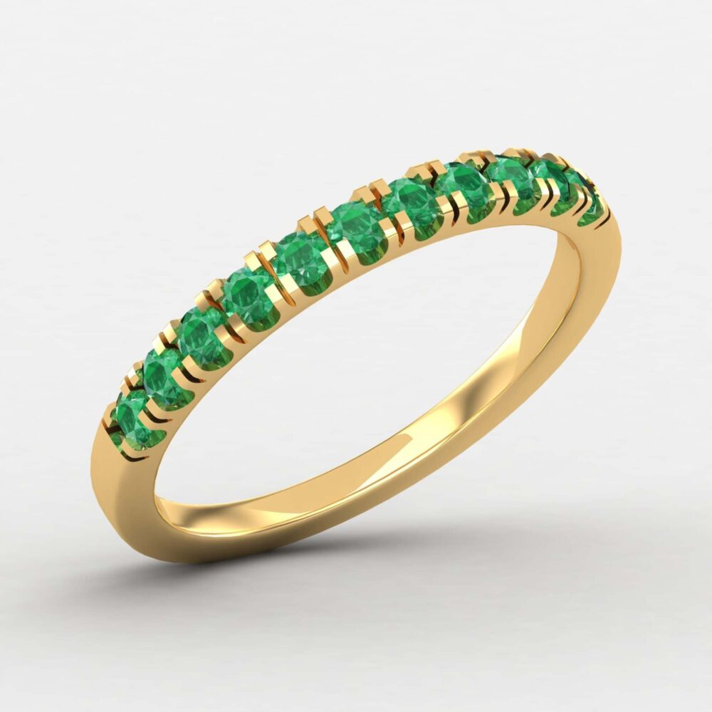 Minimalist Emerald Eternity Band Ring, Stacking Half Dainty Band, Yellow Gold Wedding Gift For Her