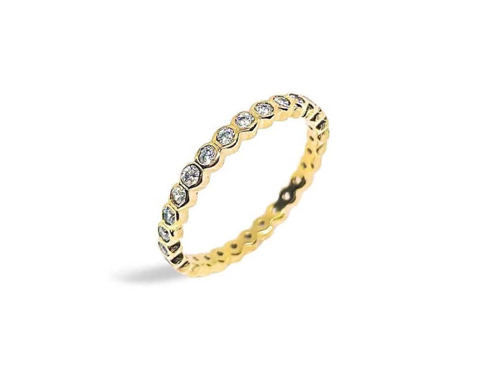 Round Cz Eternity Band Ring, Gold Band, Stackable Dainty Minimalist Stacking Ring Gold, Ls144Rs