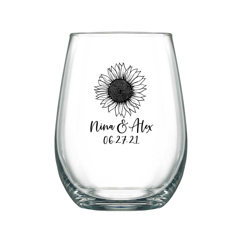 Barn Wedding Wine Glasses Personalized Stemless 17Oz Favors For Guests Boho Decor Sunflower 1A