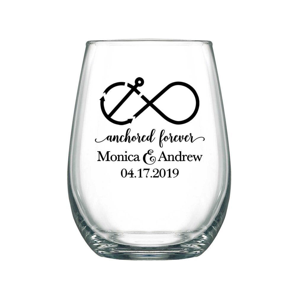 Wedding Wine Glasses Personalized 17Oz Stemless Nautical Favors Party Gifts Anchored Forever 1A