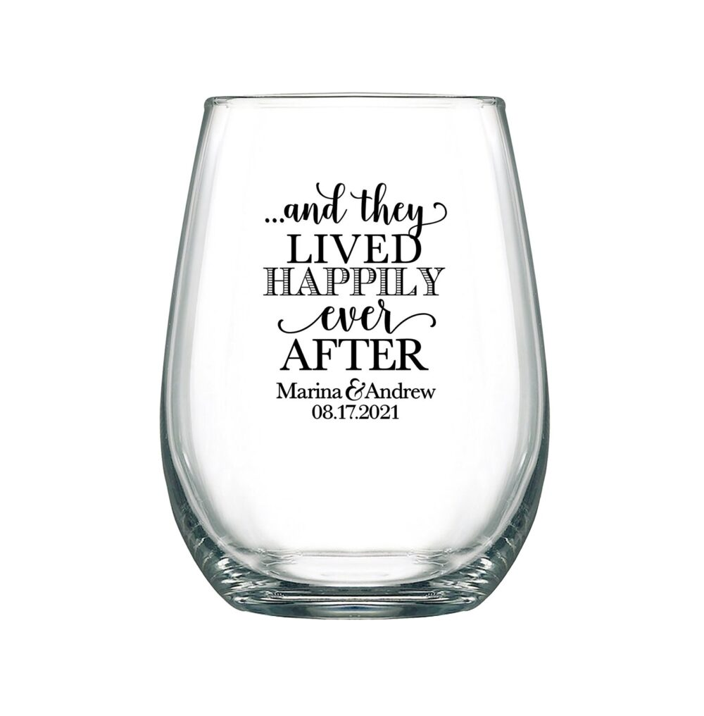 Wedding Wine Glasses Personalized 17Oz Stemless Favors Vineyard They Lived Happily Ever After 1C