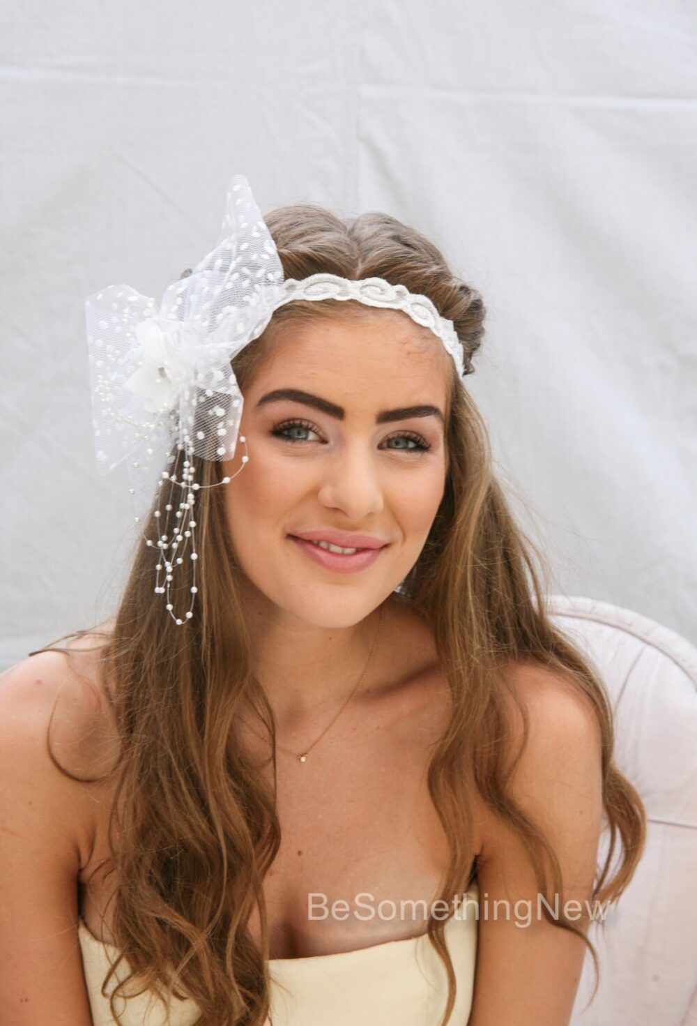 White Wedding Elastic Headband With Dotted Veil Bow Flower Girl Or Bachelorette Party Large Headpiece Pearls