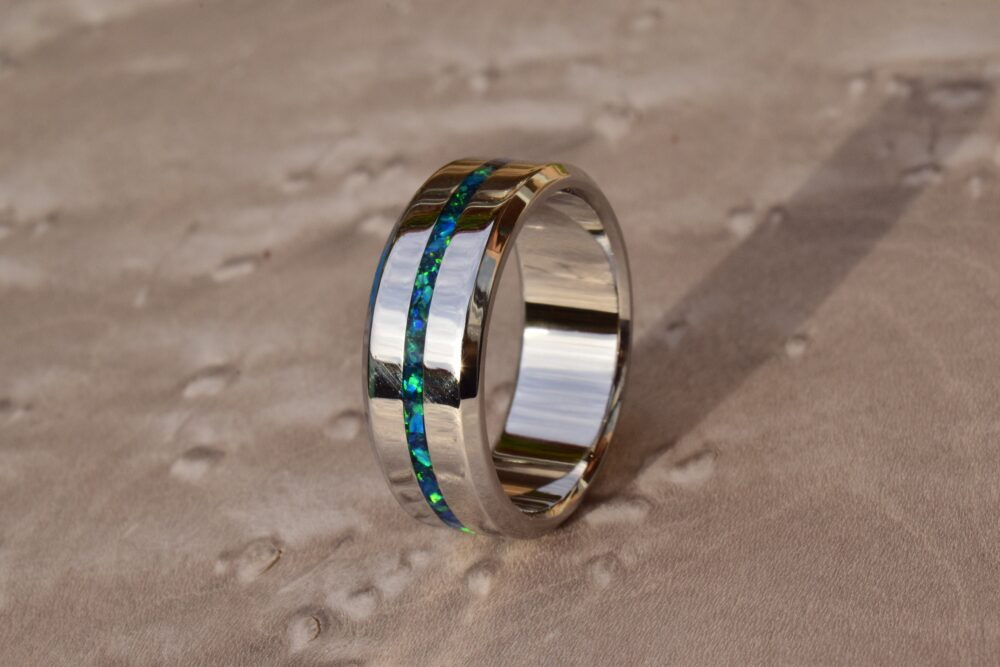 Wedding Ring, Stainless Steel Ring With Crushed Dark Green & Ocean Blue Opal